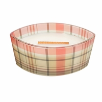 NEW! - White Teak Plaid Ellipse WoodWick Candle with HearthWick Flame