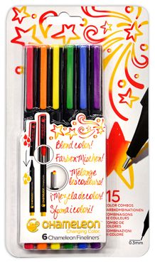 Chameleon Fineliner Set of 6- Primary Colors