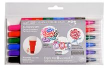 ZIG Clean Color DOT Marker Set of 6 Primary Colors
