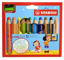 STABILO Woody 3-in-1 Set of 10 w/Sharpener