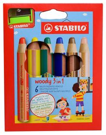 STABILO Woody 3-in-1 Set of 6 w/Sharpener