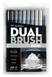 Tombow Dual Brush Pens- Grayscale Set of 10
