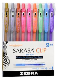 Zebra Sarasa Push Clip Gel Pens- Shiny Colors Set of 9