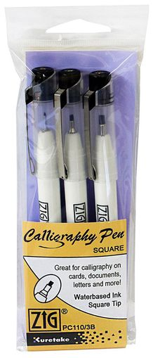 Zig Calligraphy Pen 3 Pack- Square, Black (PC110/3B)