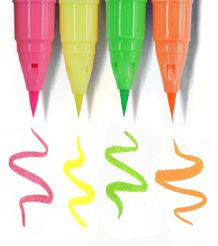 ZIG Clean Color Real Brush - Fluorescent 4 Pack 4VF