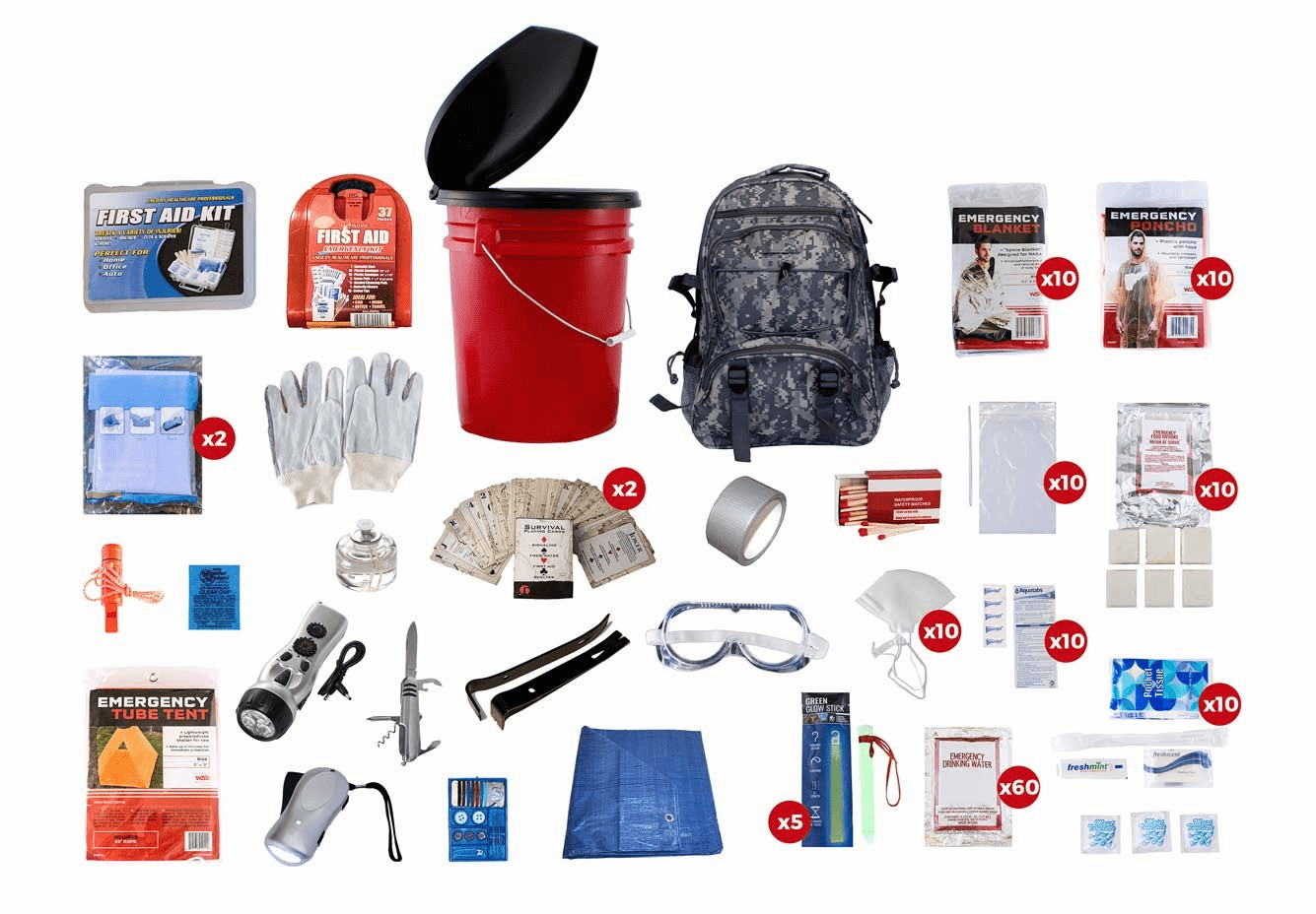 10 Person Survival Kit with a Camo Backpack (72 Hour)