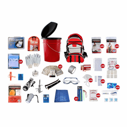 10 Person Survival Kit with a Red Backpack (72 Hours)