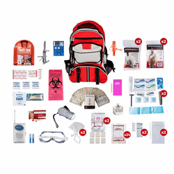 2 Person Deluxe Disaster Survival Kit (72 Hours) in a  Red Backpack