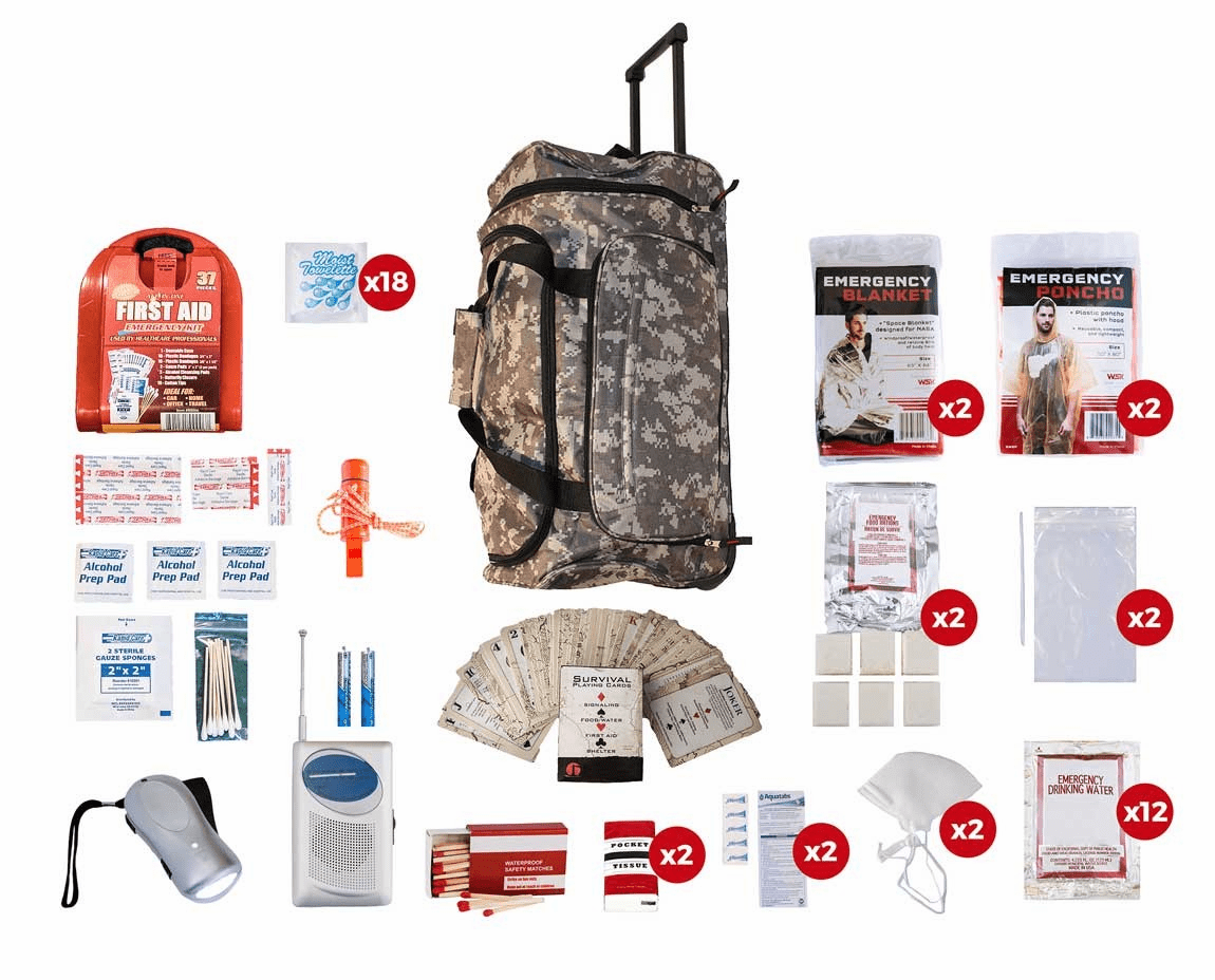 2 Person Survival Kit (72 Hours) in a Camo Wheel Bag