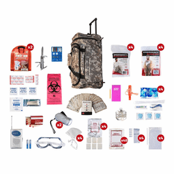 4 Person Deluxe Disaster Survival Kit (72 Hours) in a Camo Wheel Bag