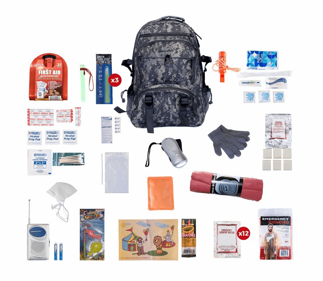 Survival Kit for Children in a Camo Backpack (72 Hours)