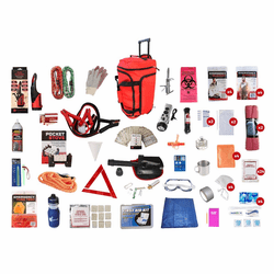 Vehicle Roadside Emergency Kit in a Red Wheel Bag