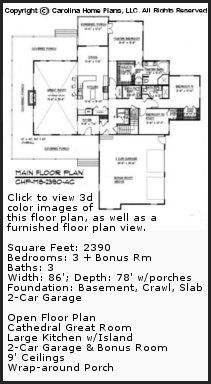 3D Images For CHP-MS-2390-AC - Midsize Country Style 3D House Plan Views