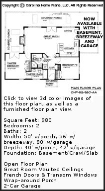 3D Images For CHP-SG-980-AA - Small Contemporary Cottage 3D House Plan Views