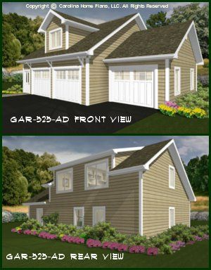 CHP-GAR-525-AD<br />Cottage/Craftsman Garage-Apartment Plan<br />1 Bedroom, 1 Bath, 3-Car, 2 Story