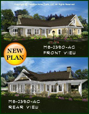 CHP-MS-2390-AC<br />Midsize Country Style House Plan <br />3 Br, 3 Baths plus Bonus Rm, 1-Story