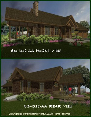 CHP-SG-1332-AA<br />Small Craftsman Cottage House Plan <br />2 Br, 2 Baths, 1 Story