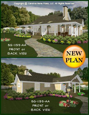 CHP-SG-1159-AA<br />Small Country Cottage House Plan <br />2 Br, 2 Baths, 1 Story