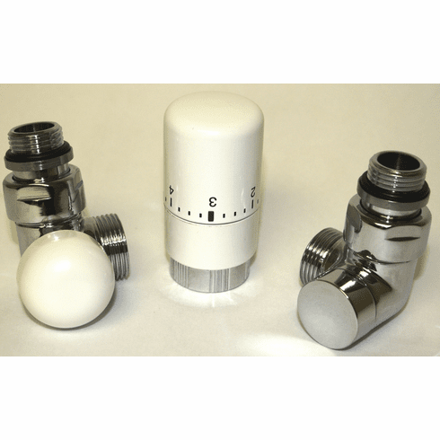 Angeled Automatic TRV Left Valve Kit - Chrome