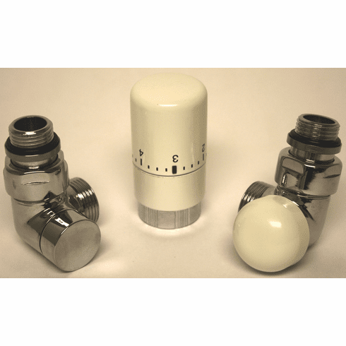 Angled Automatic TRV Right Valve Kit - White