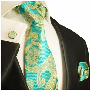 Angel Blue and Gold Paisley Silk Tie Set by Paul Malone