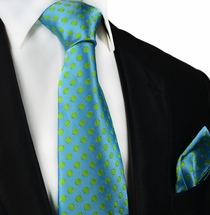 Angel Blue and Green Paul Malone Silk Tie and Pocket Square