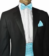 Angel Blue Paisley Cummerbund and Bow Tie Set
