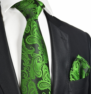 Antique Green Paisley Tie and Square by Paul Malone