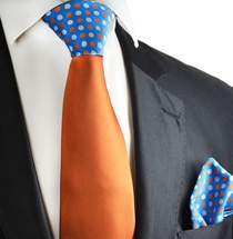 Apricot Orange Contrast Tie and Pocket Square by Paul Malone
