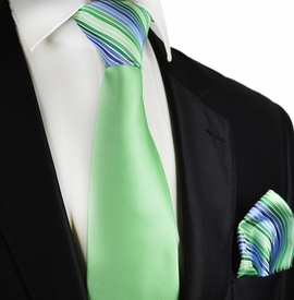 Arcadian Green Contrast Knot Tie Set by Paul Malone
