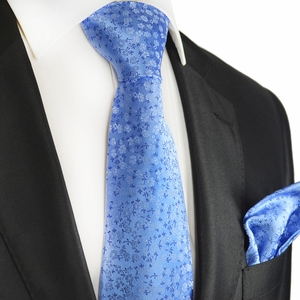 Azure Blue Silk Tie and Pocket Square Set by Paul Malone