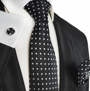 Black and White Polka Dotted Silk Tie Set by Paul Malone