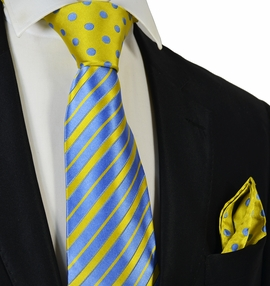 Baby Blue and Yellow Steven Land Contrast Knot Silk Tie and Pocket Square