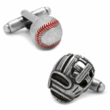 Baseball and Glove Antique Silver Cufflinks