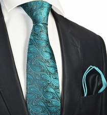 Bayou Tie with Contrast Rolled Pocket Square