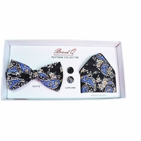 Black and Blue Paisley Bow Tie Gift Box