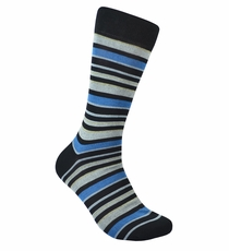 Black and Blue Striped Cotton Dress Socks by Paul Malone