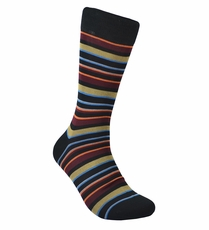 Black and Burgundy Striped Cotton Dress Socks by Paul Malone