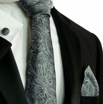 Black and Gray Paisley Silk Necktie Set by Paul Malone (580CH)