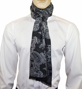 Black and Grey Paisley Men's Scarf by Paul Malone