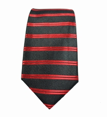 Black and Red Striped Boys Silk Tie
