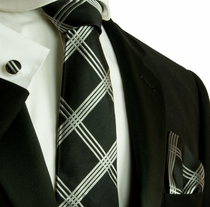 Black and Silver Checked Necktie Set by Paul Malone (576CH)