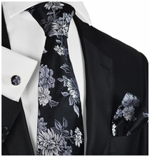 Black and Silver Floral Silk Tie Set by Paul Malone