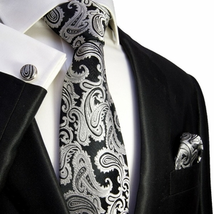 Black and Silver Paisley Silk Tie Set by Paul Malone