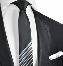 Black and Silver Slim Tie and Pocket Square