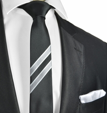Black and Silver Slim Panel Tie and Pocket Square