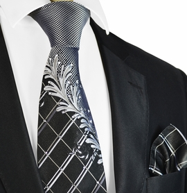 Black and Silver Steven Land Silk Tie and Pocket Square with Crystals