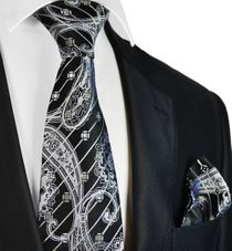 Black and Silver Steven Land Wedding Tie and Pocket Square with Crystals