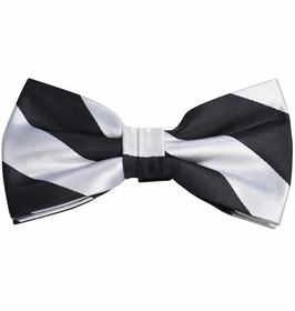 Black and Silver Striped Silk Bow Tie with Pocket Square