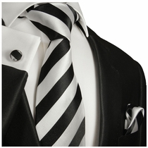 Black and Silver Striped Silk Tie Set by Paul Malone